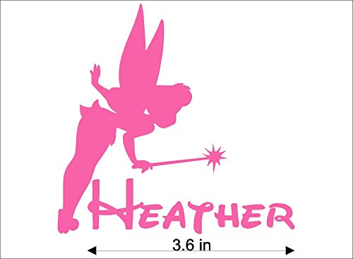 Bermuda Shorts Graphics Tinkerbell Personalized Name Decal/Vinyl Tumbler, Vehicle, Home Disney Graphic Sticker (Pink)