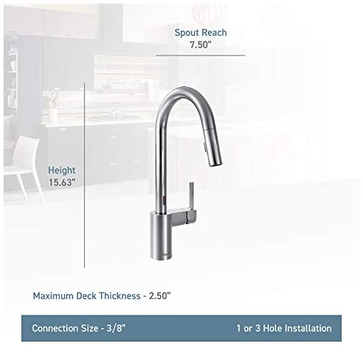 Kitchen Moen 7565EC Align Motionsense Two-Sensor Touchless One-Handle High Arc Modern Pulldown Kitchen Faucet with Reflex… modern sink faucets