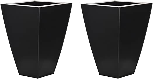 Matte Black Tapered Square Small Zinc Vase – Set of 2