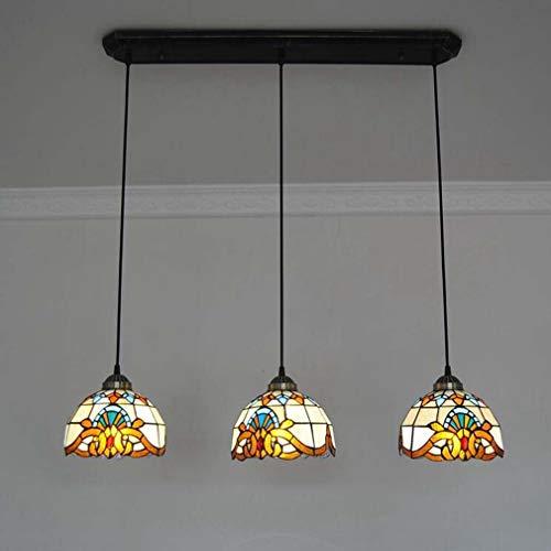 (8 Inch Tiffany Style Pendant Light, Baroque Stained Glass Pendant Lamp Shade 3-Head Restaurant Bar Art Ceiling Light Fixture,110-240V,E26 / E273)
