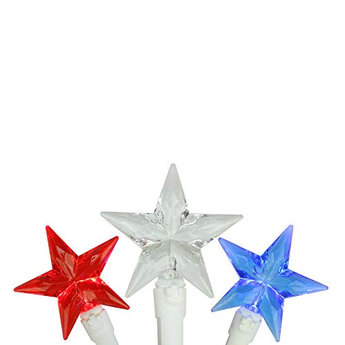 Large White Star - 30 Patriotic Red, White and Blue LED Star String Lights - 7ft White Wire