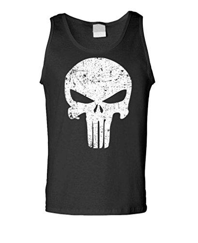Distressed Punisher Skull Mercenary Liberty - Mens Tank Top, S, Black