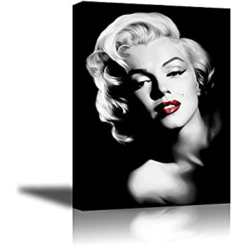 Amazon.com: PIY Red Lips Marilyn Monroe Wall Art with Frame, Canvas ...