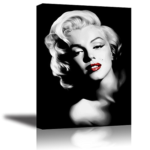 Piy Painting Monroe Canvas Wall Art, PIY Red Lips Monroe Wall Decor, 1 Piece Black and White Canvas Prints for Bedroom, 1