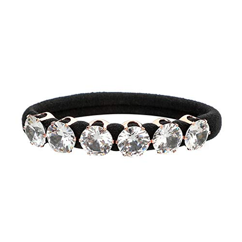 Womens Ponytail Holder - DEEKA Black Hair Tie with Zircon Elastic Hair Bands Ponytail Holder Scrunchy for Women - Natural White Color Zircon