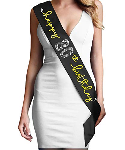 80th Birthday Party Supplies - Metallic Gold & Rhinestone Happy 80th Birthday Premium Quality Black Sash(Hppy80Bday Gld) BLK -
