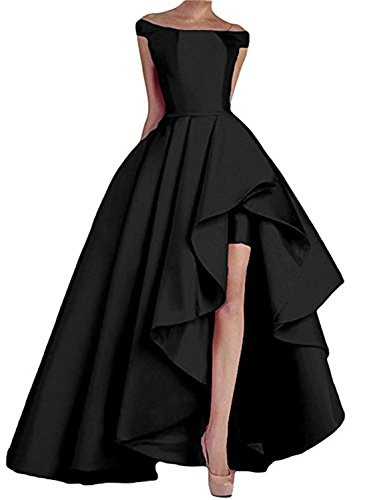 6676d5878c9 Homdor High Low Off The Shoulder Prom Dresses Long Satin Evening Formal  Gowns