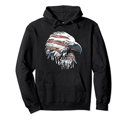 Minted Eagle - Unisex Patriotic Eagle Hoodie - American Flag Hoodie XL: Black