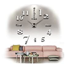 Modern Frameless Large 3D DIY Wall Clock Kit Decoration Home for Living Room Bedroom (silvery)