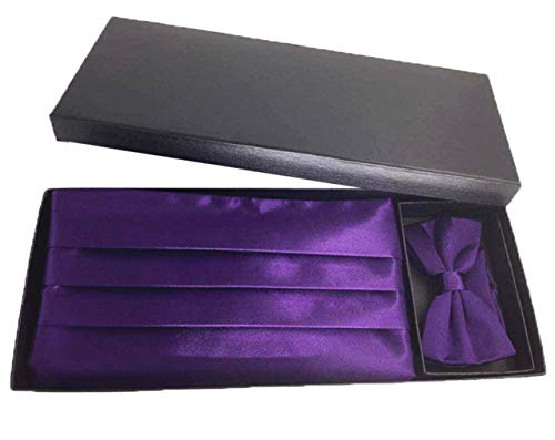 Cummerbund Purple Mens - MENDENG Men's Cummerbund Set Satin Bow Tie Handkerchief Cummerbunds For Wedding