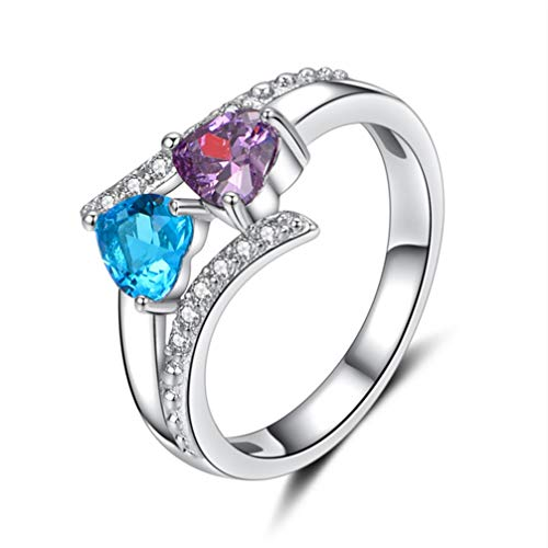 Myhouse Charm White Gold Color Double Heart Shape Rhinestone Ring for Women, (Sea Blue Purple, 8)