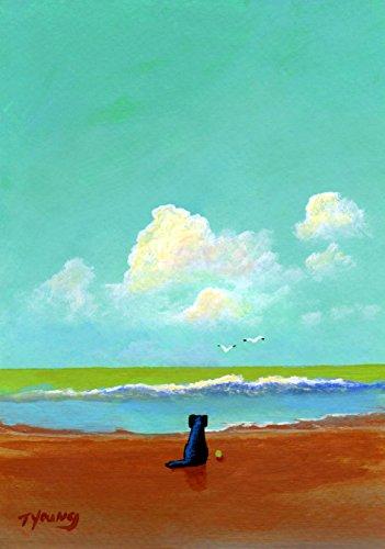 Black Lab Labrador Retriever DOG Art print by Todd Young OCEAN MIST