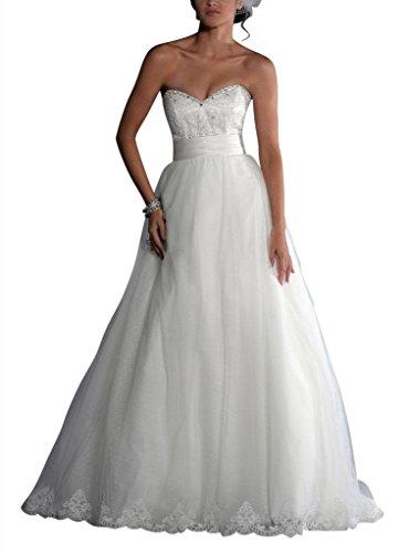 mit Rock Spitze Elfenbein Rock Brautkleider Schatz BRIDE Hochzeitskleider GEORGE Tulle Ballkleid gestickter wP8IUYPq