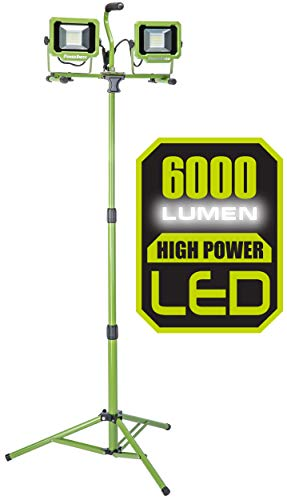 PowerSmith PWL2060TS 6,000 Lumen LED Dual Head work light with Adjustable Metal Telescoping Tripod Green