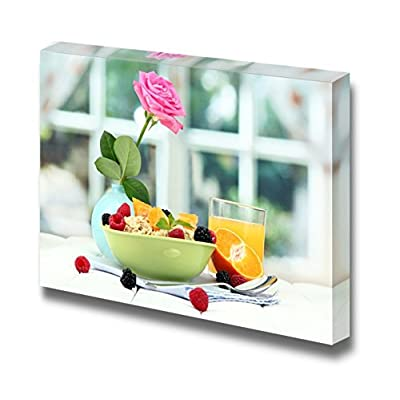 Canvas Prints Wall Art - Tasty Oatmeal with Berries and Glass of Guice on Table, on Window Background - 32