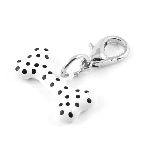 uxcell Bone Shaped Pendant Cat Dog Lobster Clasp Collar Charm, White