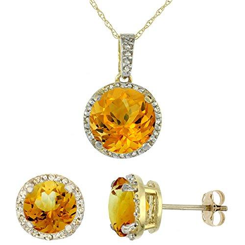 Jewellery World Bague en or jaune 9carats Citrine Boucles d'oreilles et pendentif rond Naturel Accents de diamant