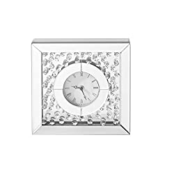 Decor Central Crystal Square Table Clock, 10, Clear Finish
