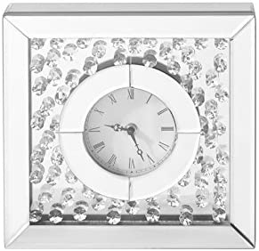 Decor Central Crystal Square Table Clock, 10 , Clear Finish