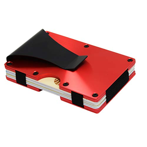 Metal Minimalist Wallet for men with Money Clip - Slim Wallet Credit Card Holder RFID Blocking, Aluminum (Red)