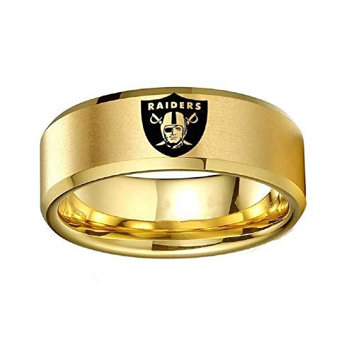 FlyStarJewelry Gold Titanium Steel Oakland Raiders Ring Football Men Sport Ring Band Size 6-13 (10)