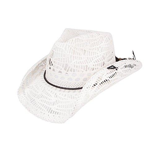 White Toyo Straw (Peter Grimm Ltd Women's Abilene Straw Cowgirl Hat White One Size )