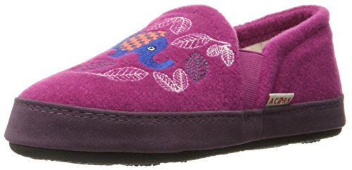 Acorn Girls' Colby Gore Moc Slipper Magenta Elephant 10/11 M US Little Kid