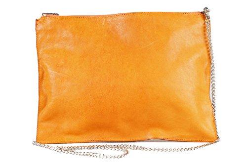 Mujer Cremallera Naranja Con Bolso Mano Camely Abertura Correa De Piel Y Zwq7x1d