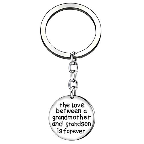 Grandson Key Chain Men Boy Christmas Gifts The Love Between a Grandmother and Grandson is (Best Grandma Key Chains)