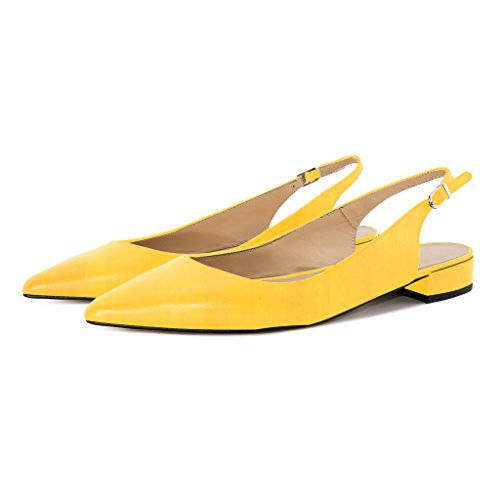 Women's Heel Strap Slingback Block 2cm Ankle Toe Soireelady Pumps Shoes Yellow Summer Low Pointed FtqWdwSn