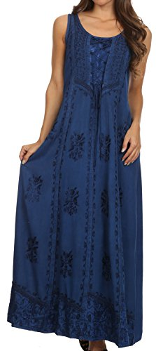 Sakkas 15229 - Stella Long Tank Top Adjustable Caftan Corset Dress With Embroidery - Navy - 1X/2X