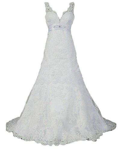 QiJunGe Modest Lace Wedding Dresses Beaded Empire Waist Bridal Gowns White US 8 Modest Lace