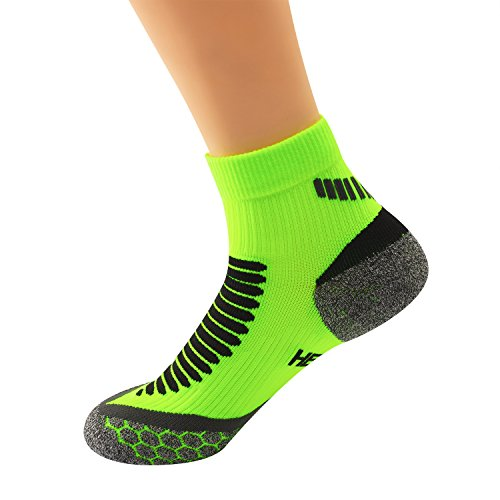 Boys Lime Green - ThemeDesigner Natural Hemp Athletic Compression Socks Moisture Wicking Women Boys Neon Lime Green Ankle Low Cut Cushioned Performance Crew Running Quarter Sport Sock for Youth