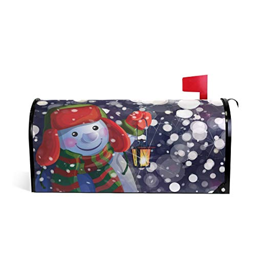 WOOR Snowman Holding Christmas Lantern Magnetic Mailbox Cover Standard Size-18