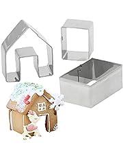 NIDONE 3pcs pepparkaka hus cookie cutter set baka ditt eget små pepparkakshus kit lite kaka jul hus bakning mögel