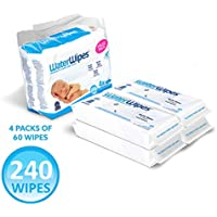 4-Packs WaterWipes Unscented Baby Wipes, Sensitive and Newborn Skin (240 Wipes)