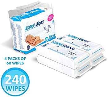 4-Packs WaterWipes Unscented Baby Wipes, Sensitive and Newborn Skin