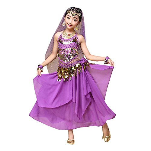 [Kids' Costume Foutou Girls Belly India Dance Outfit Clothes Haning Neck Style Top+Skirt (XS, Purple)] (Roller Girl Fancy Dress Costume)