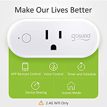 Smart Plug Gosund 16A Wifi Outlet Work with Alexa Google Home,4 Pack Mini Socket with Timer Function and Overload Protection, FCC ETL Certification Only Supports 2.4GHz Network