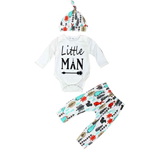 DaySeventh Newborn Baby Prefect Gift Clothes Set Tops +Long Pants Hat Outfits (0-3M, White)