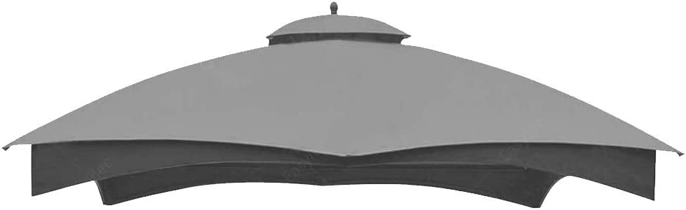 Easylee Gazebo Replacement Canopy, Double Teir Sunshade Polyester Soft Top Cover for Lowe's Allen Roth 10'x12' Gazebo #GF-12S004B-1(Light Grey)