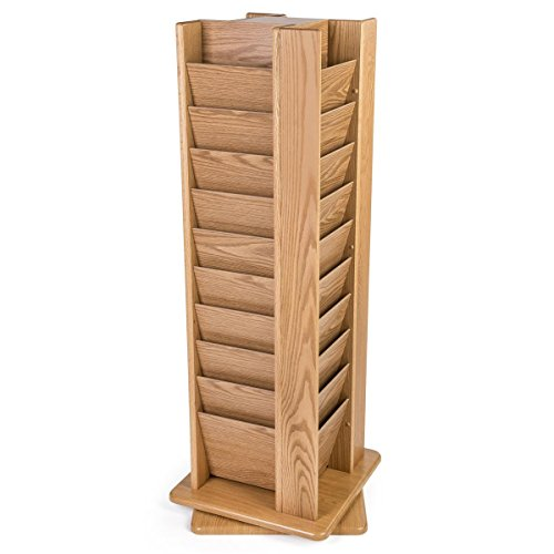Wooden Mallet MR40-SPLO Cascade Spinning Floor Display with 40 Magazine Pockets, Light Oak - Pamphlet Pocket Wood Display Rack