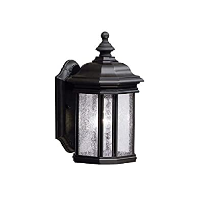 Kichler 9028BK Kirkwood Outdoor Wall Sconce, 1 Light Incandescent 100 Watts, Black - 13 in H x 6.5 in W; 3.75 lb Requires (1) A19 bulb, not included Black finish with Clear Seeded glass - patio, outdoor-lights, outdoor-decor - 41wFsQ0SekL. SS400  -