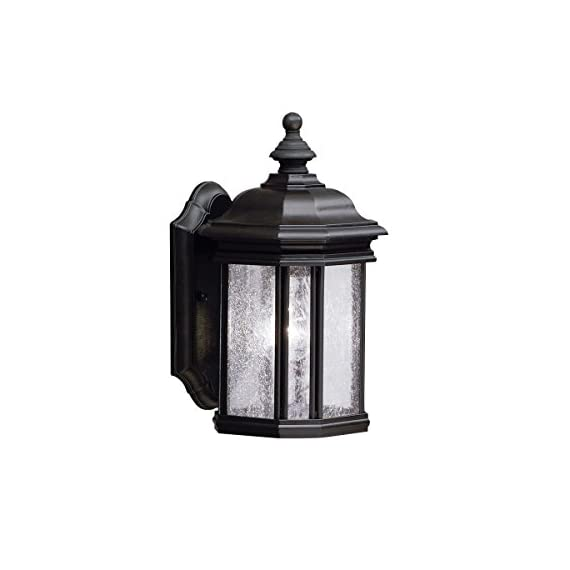 Kichler 9028BK Kirkwood Outdoor Wall 1-Light, Black - 13 in H x 6.5 in W; 3.75 lb Requires (1) A19 bulb, not included Black finish with Clear Seeded glass - patio, outdoor-lights, outdoor-decor - 41wFsQ0SekL. SS570  -