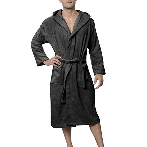 - Twinzen Bathrobe - Luxury Towelling Bathrobes in Cotton Without Chemical Products, Oeko-Tex Certified - Hooded Bath Robe with 2 Pockets, Belt - Soft, Absorbent, Comfortable Bath Robes