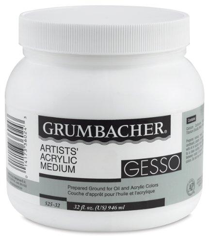 Grumbacher Gesso (Hyplar) Artists' Acrylic & Oil Paint Medium, 32 oz. Jar