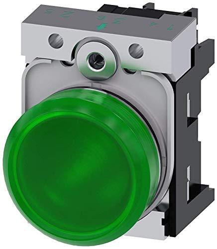 Siemens 3SU11566AA401AA0 Indicator Light, Plastic & Metal, IP66, IP67, IP69K Protection Rating, Shiny Metal, 22mm, Green