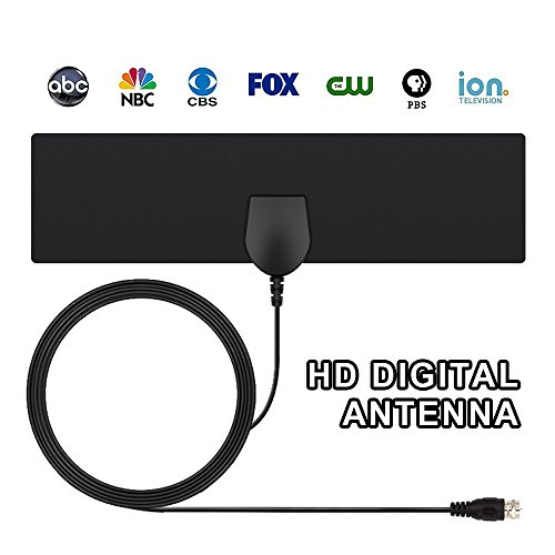 TV Antenna, Indoor Antenna for Digital TV , HDTV Antenna Ultra Thin, 10FT High Performance Coaxial Cable with standard connector, 35 Miles Range, Upgraded Version Black