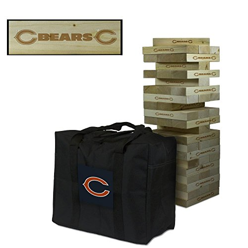 NFL Chicago Bears Chicago Football Wooden Tumble Tower Game, Multicolor, One Size by Victory Tailgate