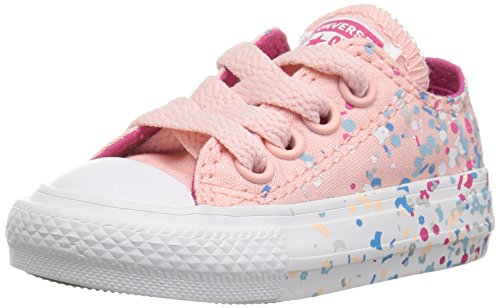 Converse Girls' Chuck Taylor All Star Metallic Foil Low Top Sneaker, Orchid Pink, 10 M US Toddler